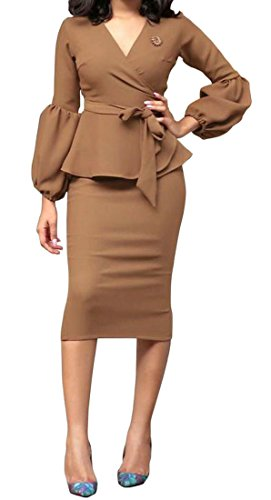 Pure Bodycon V Long Womens Neck Business Brown Dresses Sleeve Midi Color Cromoncent Ruffle fzYTqI