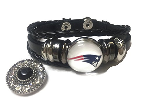 NFL Fashion Snap Jewelry New England Patriots Logo Leather Bracelet With 2 Charms For Football Fans Leather Nfl Bracelets