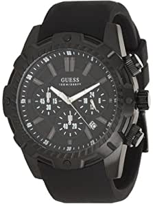 GUESS Men's U0038G1 Bold Sport Chronograph Black Silicone Strap Watch