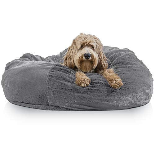 Furhaven Pet Dog Bed | Round Plush Faux Fur Refillable Ball Nest Cushion Pet Bed w/ Removable Cover for Dogs & Cats, Gray Mist, Jumbo (Round Nest Chair)