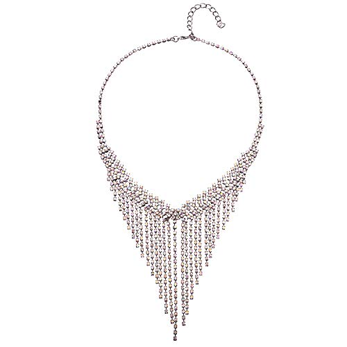 JolieHome Rhinestone Teardrop Crystal Fringe Necklace Wedding Prom Bridesmaids Jewelry Silver Tone Necklace for Formal/Ball/Porm/Cocktail/Evening Party
