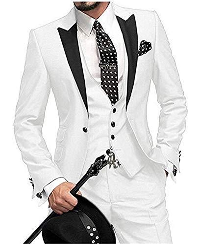 One Button 3 Pieces White Wedding Suits Notch Lapel Men Suits Groom Tuxedos White 42 chest / 36 waist