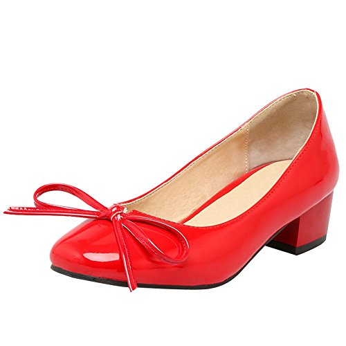 Carolbar Womens Bows Square Toe Patent Leather Chic Low Heel Pumps Shoes Red