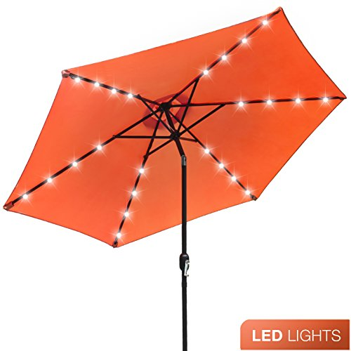 Patio Chair Cushions Umbrellas (Sorbus LED Outdoor Umbrella, 10 ft Patio Umbrella LED Solar Power, with Tilt Adjustment and Crank Lift System, Perfect for Backyard, Patio, Deck, Poolside, and more (Solar LED - Orange))