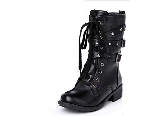 Gaorui Damen Mädchen Halbschaft Stiefel Schnürstiefel Martin Stil Chelsea Boots Armee Stiefel Schwarz