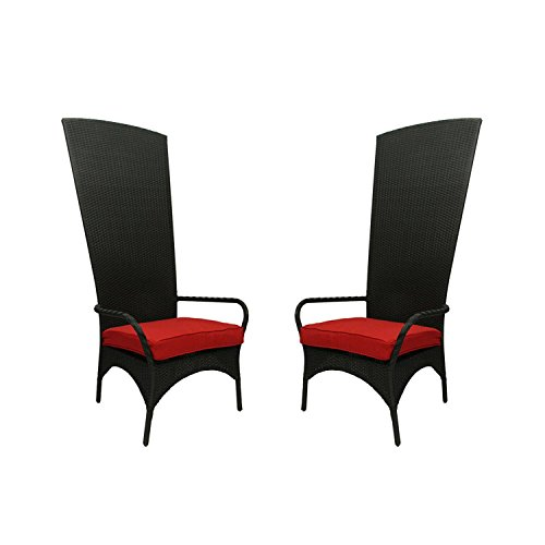 NorthLight Black Resin Wicker Outdoor Patio King Chairs, Red Cushions, Set Of 2