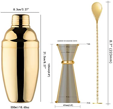 Homestia 20oz Cocktail Shaker Set with Double Cocktail Jigger and Mixing Spoon Bartender Kit Gift, Gold