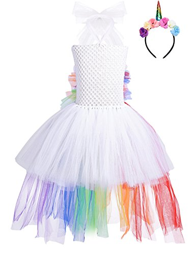 iEFiEL Kids Girls Princess Dress Fancy Costume Sleeveless Tutu Dress with Headband Cosplay Party Outfits Set (8-9, White&Colorful) for $<!--$12.95-->