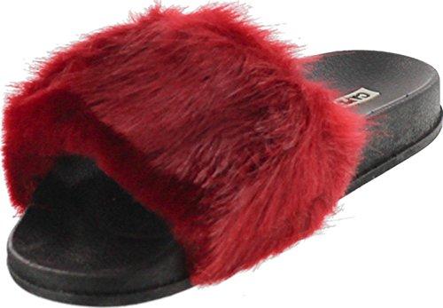 Slipper On Cape Flop Robbin Women Moira 5 Fuzzy Wine Wine Faux Slide Slip Sandal Flip Flat Fur Shoe rwrZPqHX
