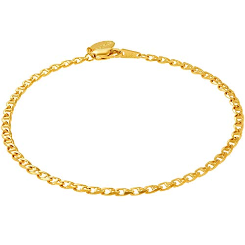 Lifetime Jewelry Ankle Bracelets for Women & Teen Girls [ 24k Real Gold Plated Gucci Mariner Link Anklet ] 20X More Plating Than Other Foot Chains - Lifetime Replacement Guarantee (11.0) ()