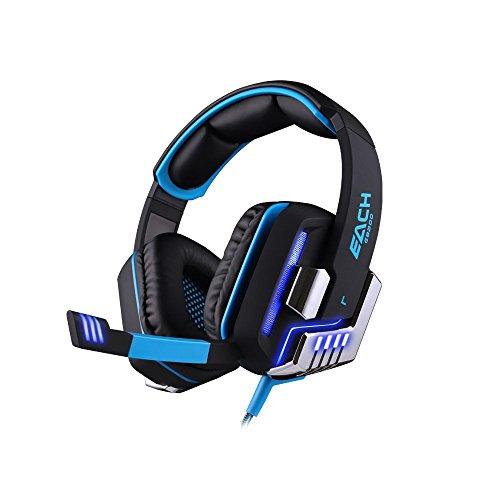 KOTION EACH G8200 7.1 Surround USB Vibration Gaming Headset mit Mikrofon LED Licht für PC Gamer (Schwarz + blau)