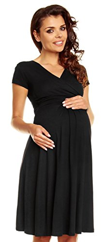 Zeta Ville - Women's Maternity Wrap V-neck Summer Dress - Short Sleeves - 108c (Black, US 10, XL)
