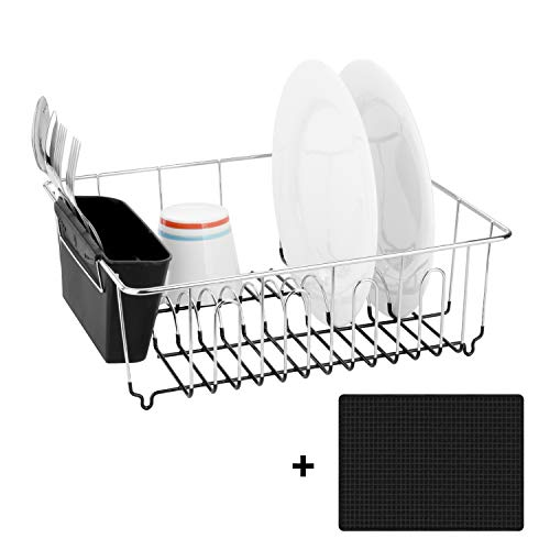 Toplife Kitchen Chrome-plated Steel Dish Drainer, Dish Rack with Tableware Holder and Microfiber Mat, Small Size (Silver) ()