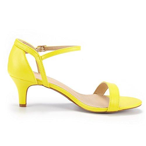 Dream Pairs Womens Lexii Fashion Stiletti Open Toe Pump Sandali Con Tacco Giallo Pu
