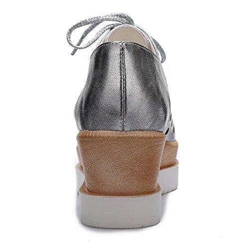 Ballet Puro Allacciare Luccichio Medio Flats VogueZone009 Argento Tacco Donna Quedrata Punta xUnq4608Fw