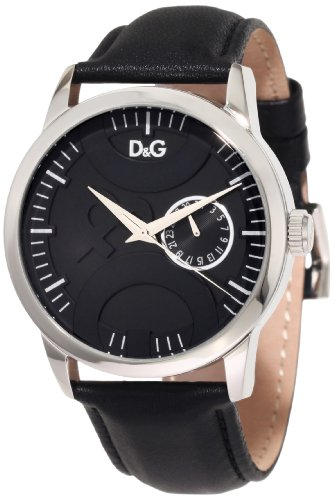 D&G Dolce & Gabbana Women's DW0699 Twin Tip Classic Round Boyfriend Analog Black Multi-Function Dial Watch