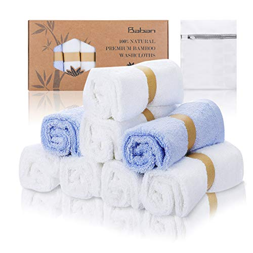 Baban 8 Pack Baby Bath Washcloths with Laundry Bag, Baby Towel, Rayon from Bamboo Pulp Fiber Bamboo Towels, Perfect Baby Gifts | Baby Registry | Baby Travel Bathing Kit, 8 pcs, 6 White 2 Blue