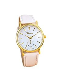 Lowpricenice New Unisex Leather Band Analog Quartz Vogue Wrist Watch Watches Pink