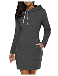 BUIBIU Women's Long Sleeve Cotton Slim Fit Midi Hoodie Dress with Pocket