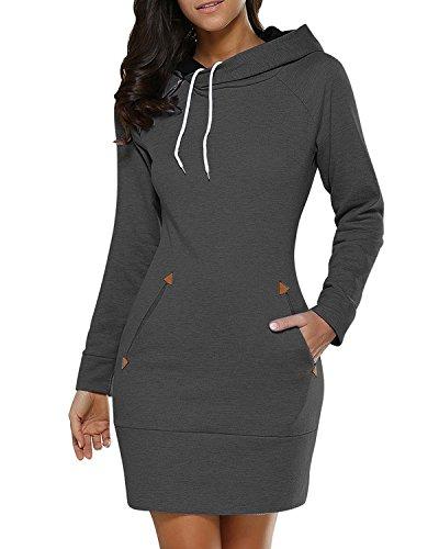 BUIBIU Women's Long Sleeve Cotton Slim Fit Midi Hoodie Dress with Pocket Dark Gray 3XL (Hooded Sweater Dress)