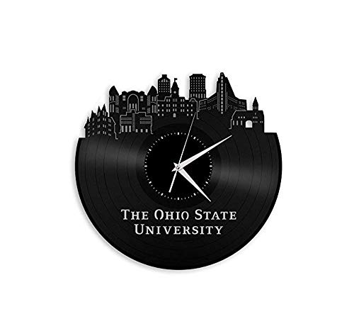 Ayzr Ohio State University Vinyl Wall Clock City Skyline Unique Gift for Students Room|Home Decoration