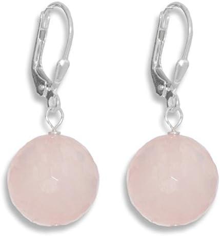 ERCE cuarzo rosa piedra semipreciosa pendientes bola, plata de ley 925