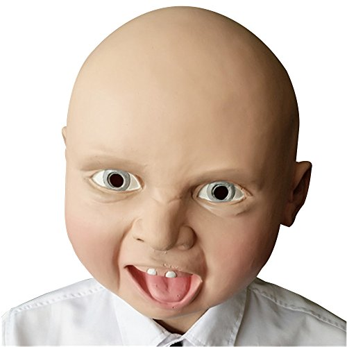 FAMI Latex Smile Baby Face Head Mask for Halloween Costume Party (Halloween Latex Face Masks)