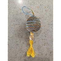 Llavero Crochet Amarillo - Gris