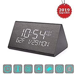 Yeslike Digital Alarm Clock, Adjustable Brightness Voice Control Desk Wooden Alarm Clock, Large Display Time Temperature USB/Battery Powered for Home, Office, Kids