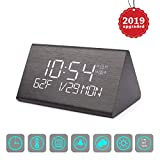 Vandora Digital Alarm Clock, Adjustable Brightness Voice Control Desk Wooden Alarm Clock, Large Display Time Temperature USB/Battery Powered for Home, Office, Kids