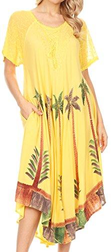 Sakkas 14610New - Kai Palm Tree Caftan Tank Dress/Cover Up - Yellow - One Size Regular