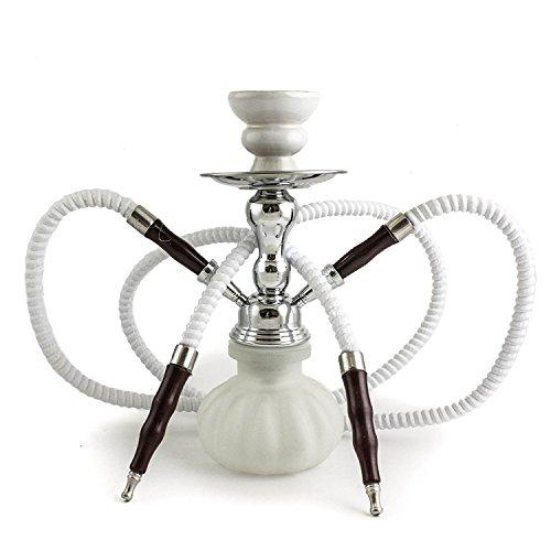 """GSTAR 11"""" Premium 2 Hose Hookah Complete Set - Mini Pumpkin Hookah Glass Vase - Pick Your Color (Snow White)"""