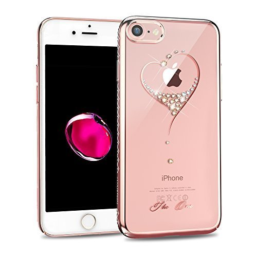 KINGXBAR for Apple iPhone 8 Case, iPhone 7 Case,Bling Diamond Crystals from Swarovski Element,Fashion Hard PC Transparent Sparkly Case Cover for Christmas Party ()