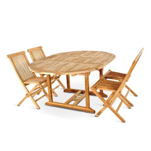 xxs m bel gartenm bel set borneo 5tlg teak holz pflegeleicht holz tisch ausziehbar mit. Black Bedroom Furniture Sets. Home Design Ideas