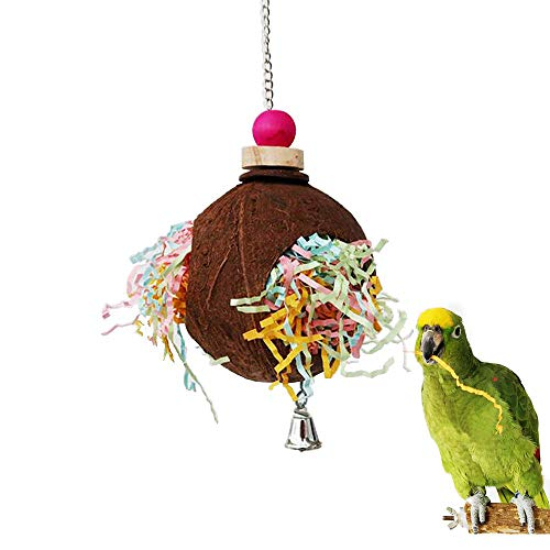 kathson Bird Preening Toy Cockatoo Foraging Toys Shredding Chew Toys Coconut Paper Shredder Ball for Cage Conures Parrots Parakeets Cockatiels Macaws Finches African Grey Budgies Lovebirds
