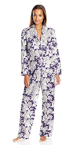 Carole Hochman Women's Packaged Brush Back Satin Pajama, Floral Garden, X-Small ()