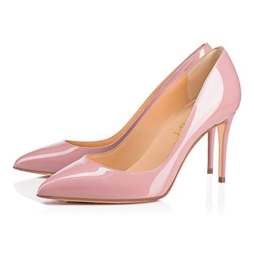 Womens Shoes Chris Stiletto Toe Pink High 12CM US On Heels Slip Red Pointy T Party S0le Pumps 85mm 5 Leather 14 Dress A6Cw5nSpCq