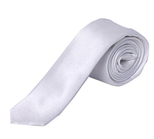 Blacksmith Slim White Satin Tie for Men - Skinny White Tie for Men - Thin White Tie for (Thin White Tie)