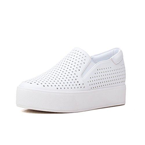 La versión coreana de Le Fu/Zapatos planos/ zapatos de suela gruesa plataforma/Zapatitos blancos A