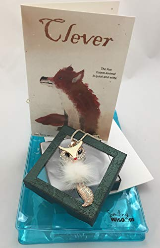 Smiling Wisdom - Fox Totem Spirit Animal Gift Set - Adaptable & Clever Themed Greeting Card - Fox Sweater Necklace - Cute Unique for Her, Girls,Teen, Young Adult, Any Clever Woman - Limited Edition