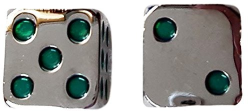 Custom & Unique {Standard Medium 15mm} 2 Ct Pack Set of 6 Sided [D6] Square Cube Shape Playing & Game Dice Made of Zinc Alloy Metal w/ Rounded Corner Edges w/ Classy Chrome Design [Silver & Green ] by mySimple Products