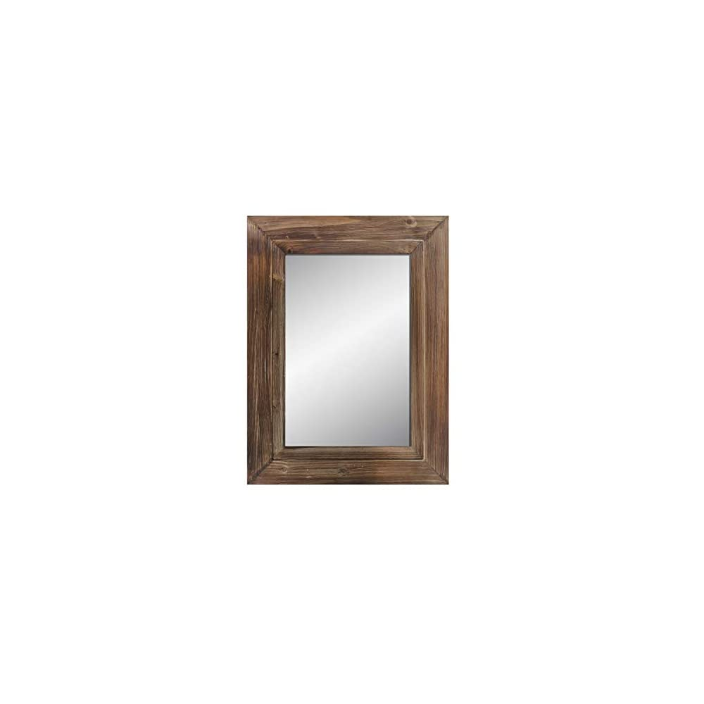 """Barnyard Designs 24"""" x 32"""" Decorative Torched Wood Frame Wall Mirror, Large Rustic Farmhouse Mirror Decor, Vertical or Horizontal Hanging, for Bathroom Vanity, Living Room or Bedroom, Brown"""