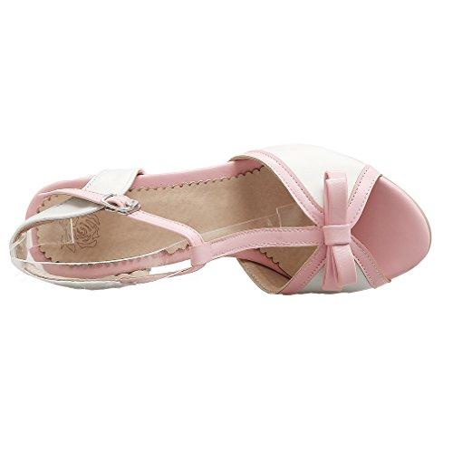 YE Damen Peep Toe T-spangen High Heel Sandalen mit Schleife und Blockabsatz Süß Pumps Schuhe Weiß