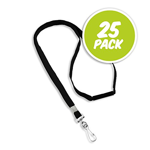 - Premium Blank Flat Woven Polyester Lanyard with Breakaway Release - Metal Swivel Hook - Black - 25 Pack