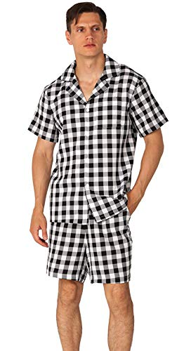 YIMANIE Men's Pajama Set Soft Cotton Short Sleeves and Shorts Classic Plaid Sleepwear Lounge Set ()