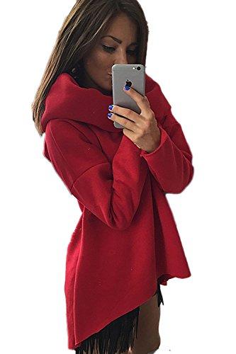 Casual sueltos de la moda con capucha sudaderas de la mujer Red