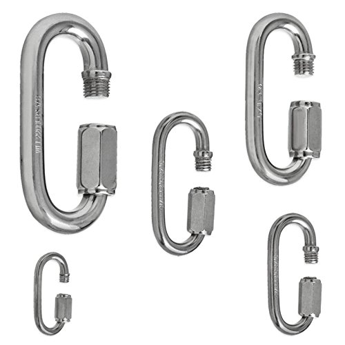 "4pc Stainless Steel Quick Links Type 316 SS Choose 5 Sizes 1/8"" to 3/8"" & 1 3/8"" to 3 1/2"""