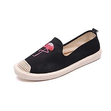 Fuxitoggo Zapatos con Estampado Animal Zapatos Planos de Lona para Mujer en Mocasines Casuales (Color : Negro, tamaño : EU 38): Amazon.es: Hogar