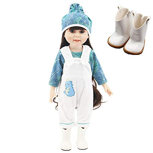 yamaso Doll Clothes Outfits Doll Accessories Hooded Jumpsuit for 18 Inch Dolls (White and Green)