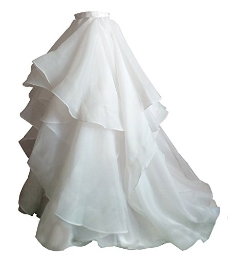(Flowerry Women Organza Skirt Bridesmaid Formal Skirt Prom Wedding Party Bridal Skirt L white)